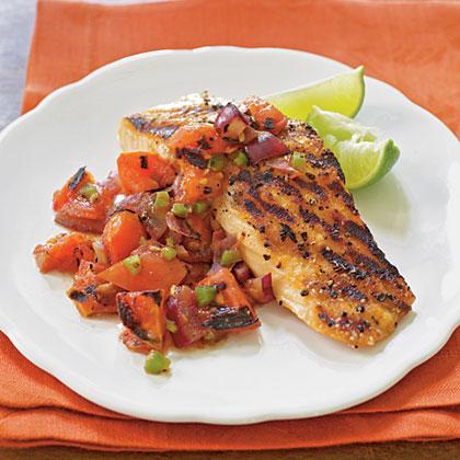 Grilled Salmon with Smoky Tomato Salsa
