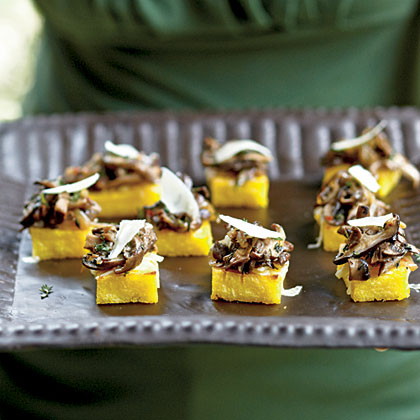 Mushroom polenta canap s recipe myrecipes for Gluten free canape ideas