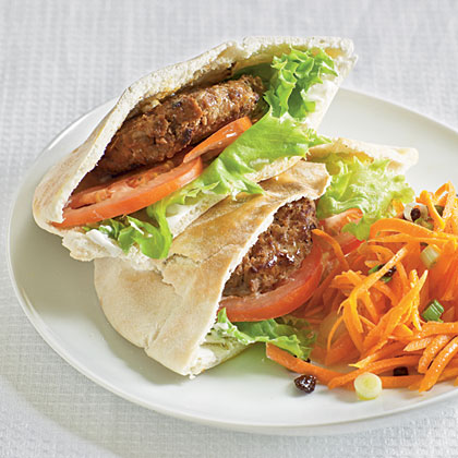 Upgrade sandwich night by serving these hearty mini burgers in pita pockets. Pair with a small salad for a light, simple dinner in minutes.Moroccan Pita Sandwiches