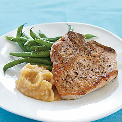Pan-Fried Pork Chops and Homemade Applesauce Recipe ...