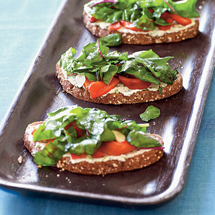Tartines with Cheese, Peppers, and Chard