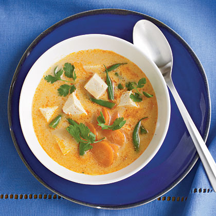 Fiery Tofu and Coconut Curry Soup