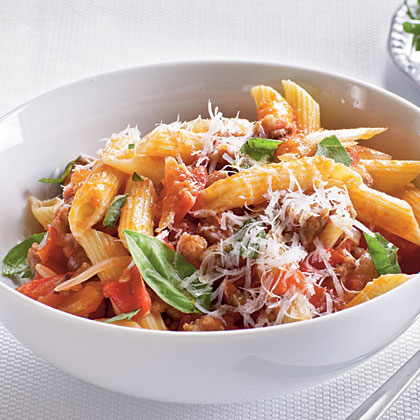Pasta With Favas, Tomatoes And Sausage Recipes — Dishmaps