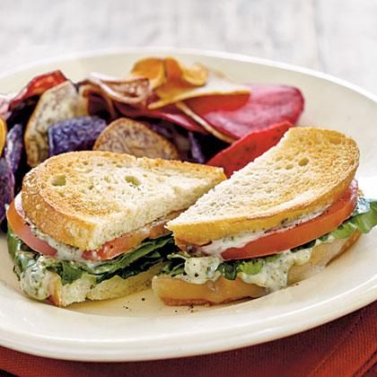 Tomato-Provolone Sandwiches with Pesto Mayo