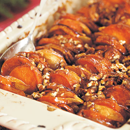 Roasted Apples and Sweet Potatoes in Honey-Bourbon GlazeRecipe