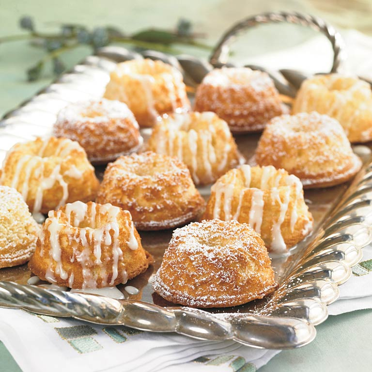 Enjoy these pound cake bites for breakfast or as a late-night snack by the fire, or split and toast them with butter. Vanilla bean paste, which can be found at specialty food stores, gives these cakes a sublime goodness. And just as with classic pound cake, we loved the crusty top edges on these, too.Baby Pound Cakes Recipe