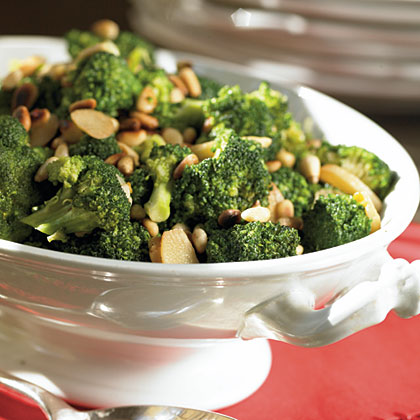 Broccoli with Caramelized Garlic and Pine Nuts Recipe | MyRecipes.com