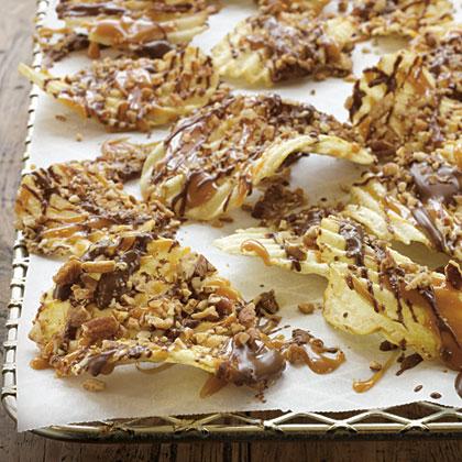 Chocolate-Caramel-Pecan Potato Chips