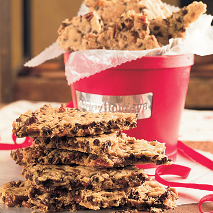 "Pecan-Chocolate Chip Cookie Brittle RecipeThis recipe is called ""brittle"" because it's a big slab of crisp chocolate chip cookie that you break into irregular pieces after it bakes. Package in a cookie jar or in a decorative tin for a festive and sweet twist on chocolate chip cookies."