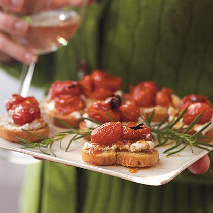 Honey-Roasted Grape Tomato Crostini