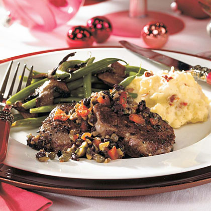 Peppered Beef Tenderloin Medallions with Olive-Herb RelishRecipe
