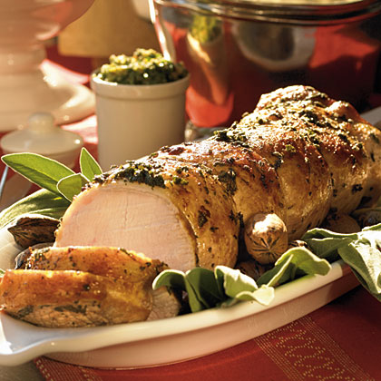 Roast Pork with Sage and Pecan Pesto Recipe | MyRecipes