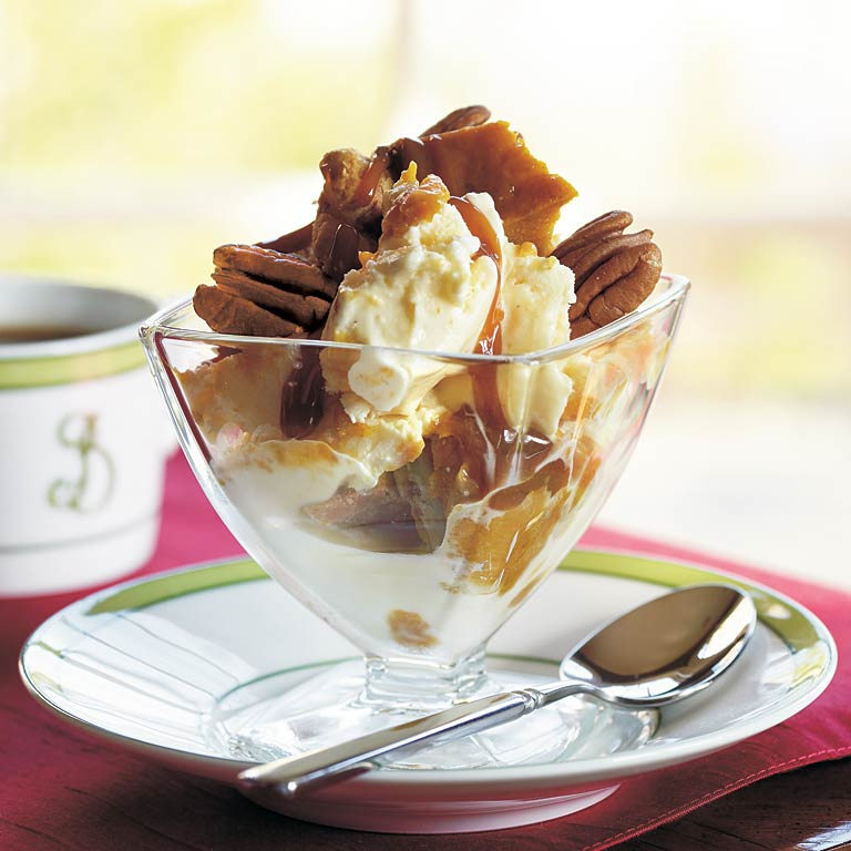 This decadent ice cream dessert starts with a frozen pumpkin pie or a pie from your supermarket bakery. All you have to do is freeze it, break it into chunks, then combine with ice cream, caramel topping, and toasted pecans. You may never go back to plain pumpkin pie.Pumpkin Pie Ice Cream Fantasy Recipe