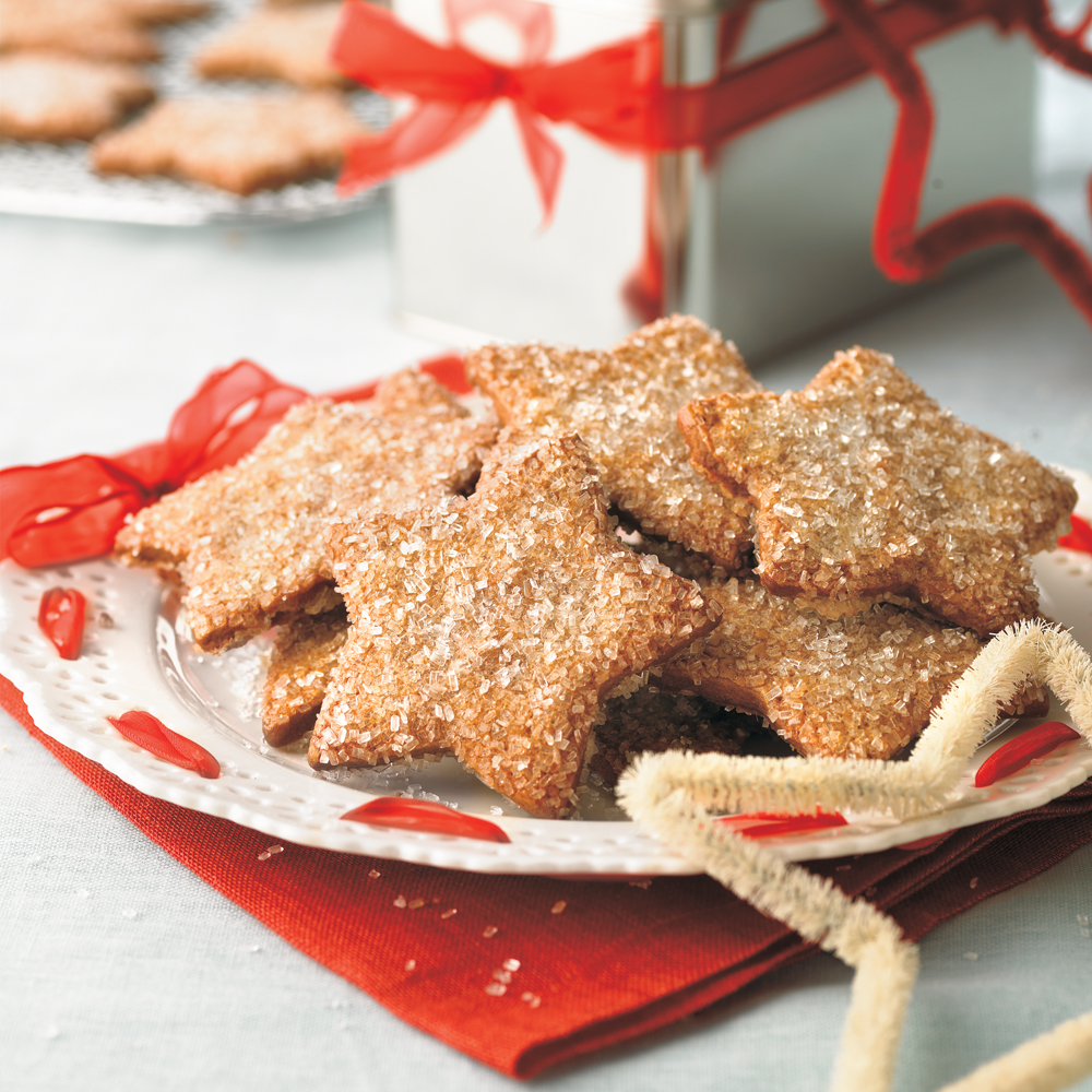 Sparkling Ginger Stars RecipeA heavy sugar crust and the peppery bite of fresh ginger make these gingerbread cookies scrumptious. Be sure your spices are fresh; it will make a big taste difference here.