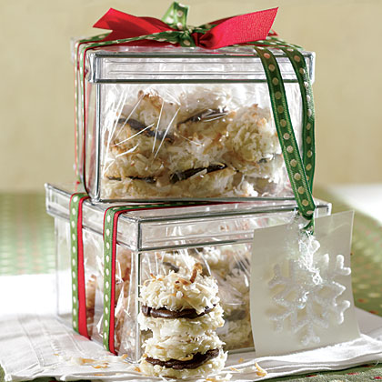 Refrigerated cookie dough is the secret ingredient behind these rich, decadent sandwich cookies. Simply roll dough in flaked coconut, bake, add the chocolate mixture to the bottom of one cookie and top with another cookie—so easy! Wrap the cookies in cellophane bags or place in air-tight containers tied with holiday ribbon.Recipe:Bittersweet Cookie Macaroons