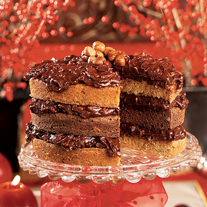 Double-Nut Drenched Chocolate Cake Recipe