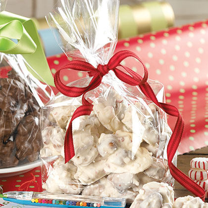 White Chocolate-Peppermint Jumbles RecipeThe secret ingredients in these bite-sized candies are pretzels and animal crackers. Both ingredients offer a crunchy texture and the pretzels add a salty punch that pairs well with the rich white chocolate coating.