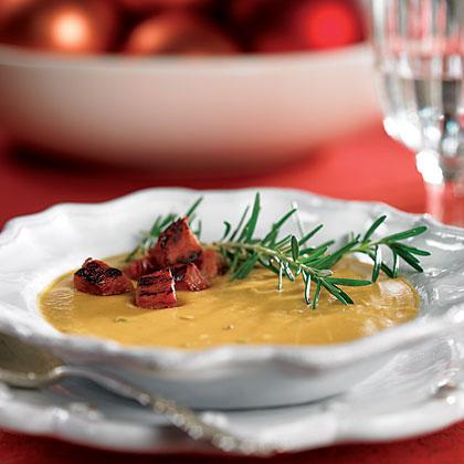 Sweet Potato-Peanut Soup with Ham CroutonsRecipe