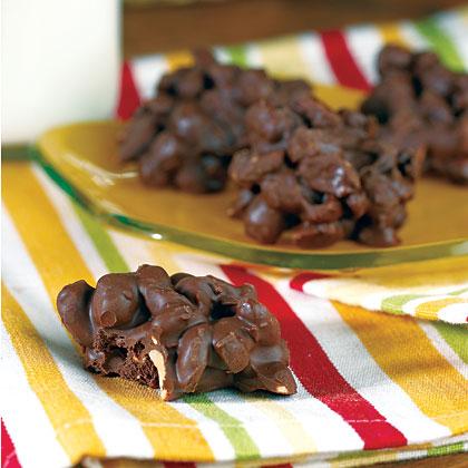 Triple Chocolate Covered Peanut Clusters Recipe Myrecipes