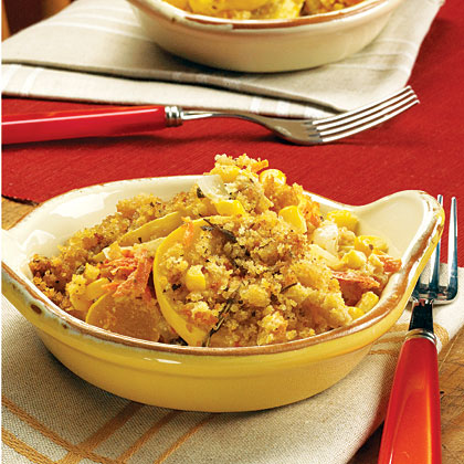 Squash and Cornbread Casserole RecipeDress up traditional squash casserole by adding carrots, corn, and cornbread topping for a favorite Southern side.