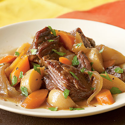 Beer-Braised Beef with Onion, Carrot, & Turnips Recipe | MyRecipes