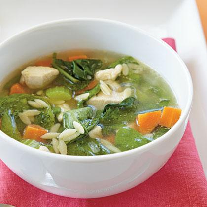 <p>Chicken-Orzo Soup</p>