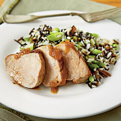 Mango Pork with Wild Rice Pilaf