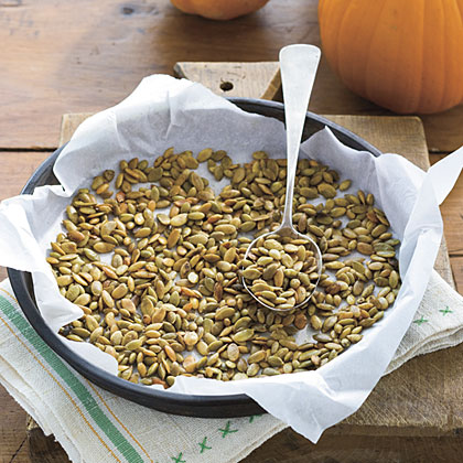 Roast a batch of pumpkin seeds with olive oil, salt and pepper to keep on hand for snacking or for topping salads and soups.Roasted Pumpkin Seeds Recipe
