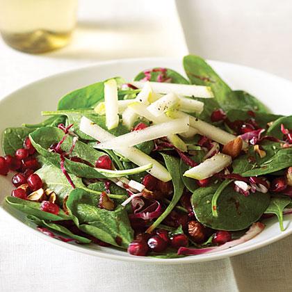 Spinach Pomegranate Salad With Pears  Hazelnuts Recipe MyRecipes