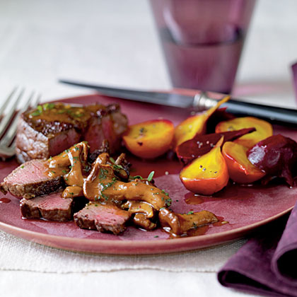 Sumac-Dusted Bison with Chanterelle Sauce and Beets Recipe