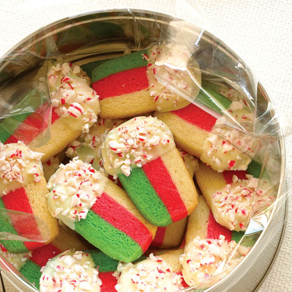Everyone brings cookies that are creatively wrapped or packaged. Inform each attendee how many cookies to assemble for each guest, and ask everyone to bring the appropriate number of prepackaged cookies (such as Peppermint Layer Cookies, left). The advantage to this strategy: Guests leave with presents wrapped and ready to give.