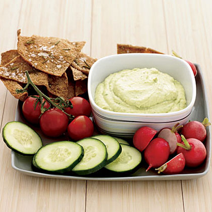 Curried Tofu-and-Avocado Dip with Rosemary Pita Chips