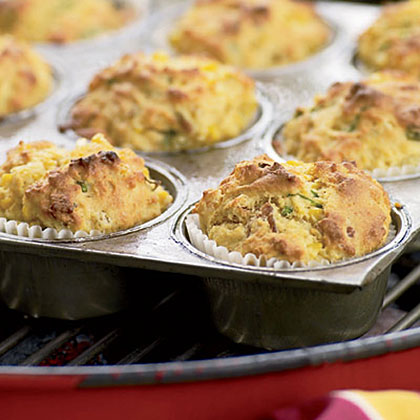 Grill-Roasted Bacon-and-Scallion Corn Muffins Recipe