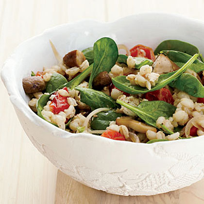 Barley-and-Spinach Salad with Tofu Dressing Recipe
