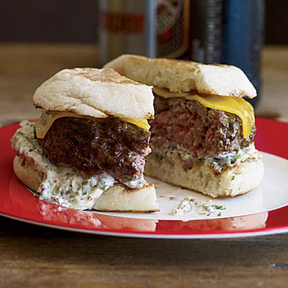 Beef-and-Lamb Burgers with Cheddar and Caper Remoulade Recipe