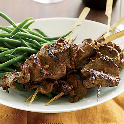 Grilled Beef-Tenderloin Skewers with Red-Miso Glaze Recipe