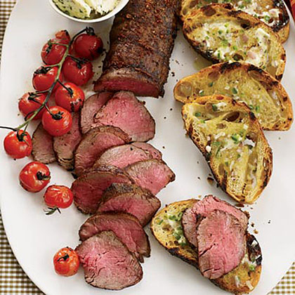 Grilled Beef Tenderloin with Ancho-Jalapeńo Butter Recipe
