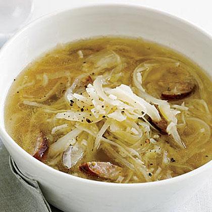 Cabbage, Kielbasa and Rice Soup