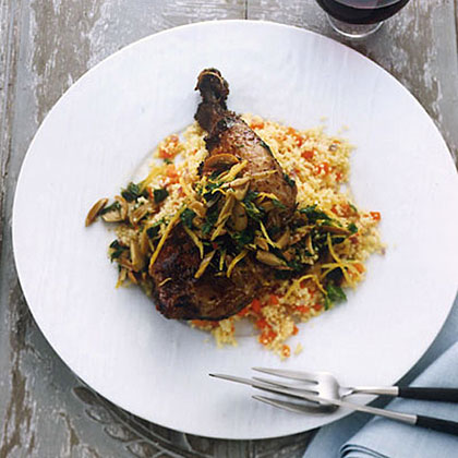 Crispy Chicken Leg Confit with Couscous and Olives Recipe