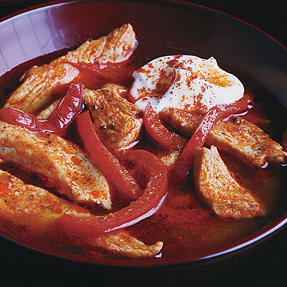 Chicken Paprikash                            RecipeLow-fat chicken breasts stay juicy and delicious in the velvety, zesty sauce for this healthy Hungarian chicken dish.