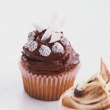 Chocolate-Frosted Golden Cupcakes with CoconutRecipe