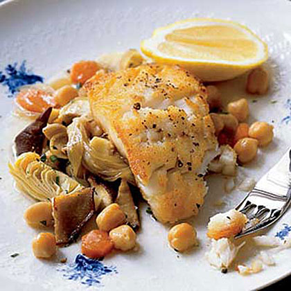 Cod with Artichokes and Chickpeas