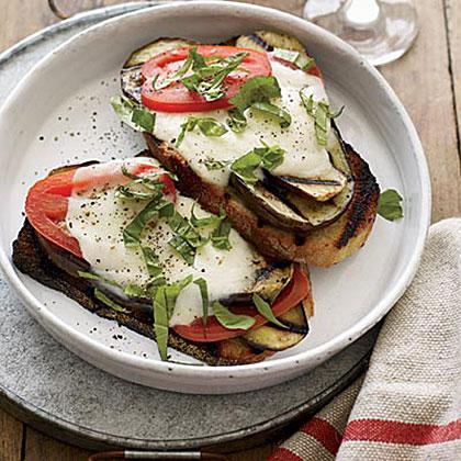 Open-Face Grilled Eggplant SandwichesRecipe