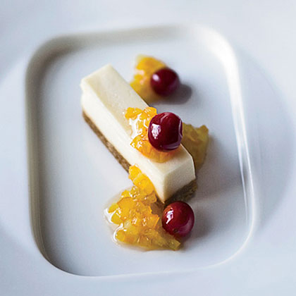 Goat Cheese Cheesecake with Honeyed Cranberries