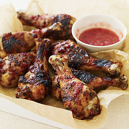 Sticky Grilled Drumsticks with Plum Sauce