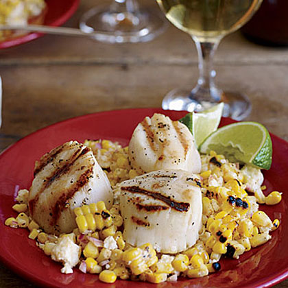 Grilled Scallops with Mexican Corn SaladRecipe