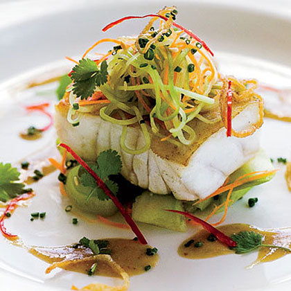 Grouper with Cucumber Salad and Soy-Mustard DressingRecipe