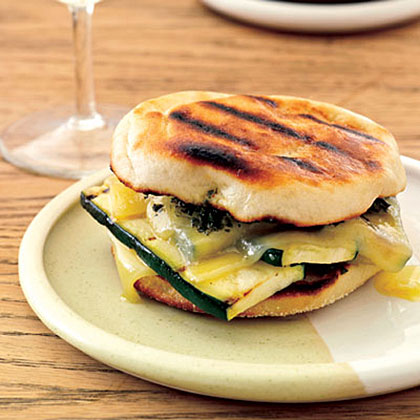 Grilled Gruyčre-and-Zucchini Sandwiches with Smoky Pesto