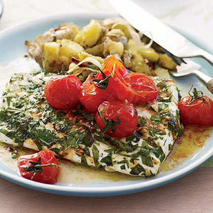 Grilled Halibut with Smashed Fingerlings and Tomato ButterRecipe