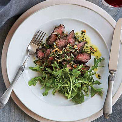 Hanger Steak with Herb-Nut Salsa